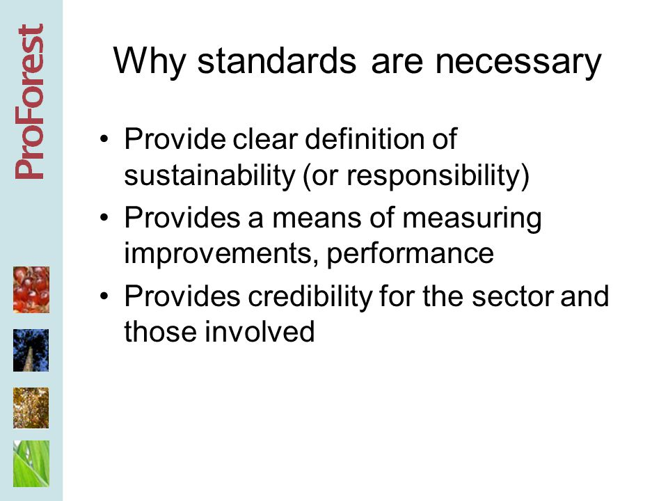 Why standards are necessary Provide clear definition of sustainability (or responsibility) Provides a means of measuring improvements, performance Provides credibility for the sector and those involved