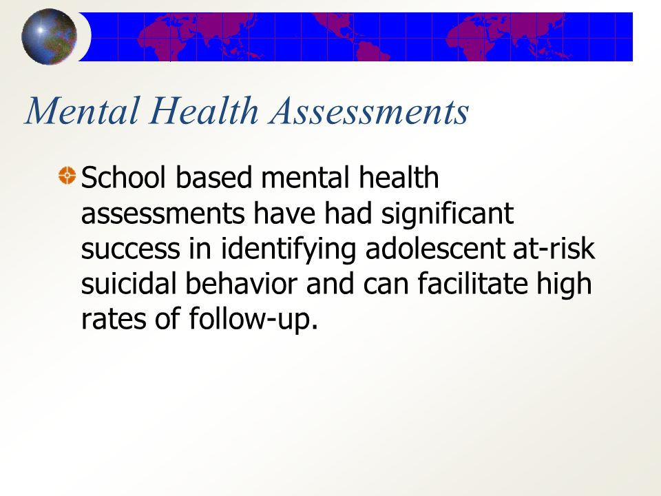 An Essential Statement There is a greater need for family and community-based education about mental illness and suicide risk along with increased access to mental health screening.
