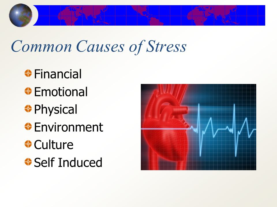 Types of Stress Acute (short- term) is the body's instant response to any situation that seems demanding or dangerous.