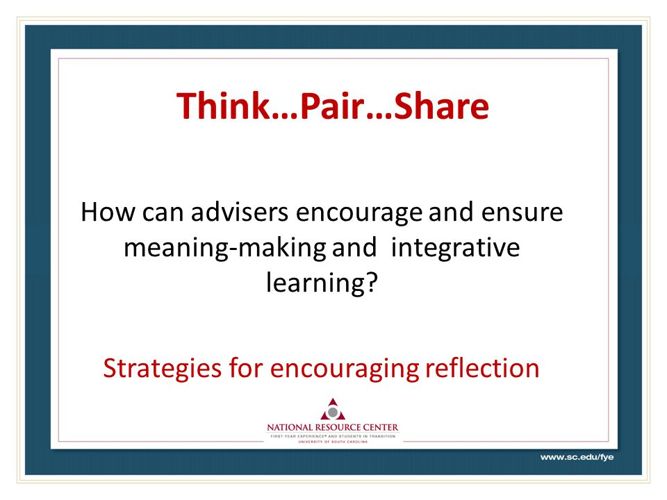 Think…Pair…Share How can advisers encourage and ensure meaning-making and integrative learning.