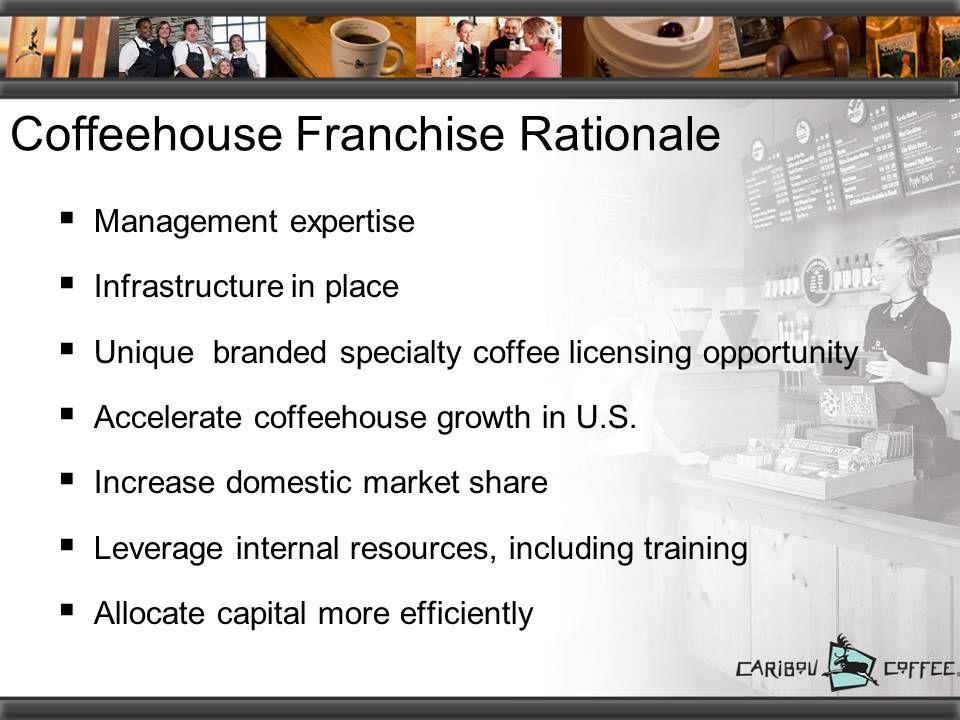 Coffeehouse Franchise Rationale  Management expertise  Infrastructure in place  Unique branded specialty coffee licensing opportunity  Accelerate coffeehouse growth in U.S.