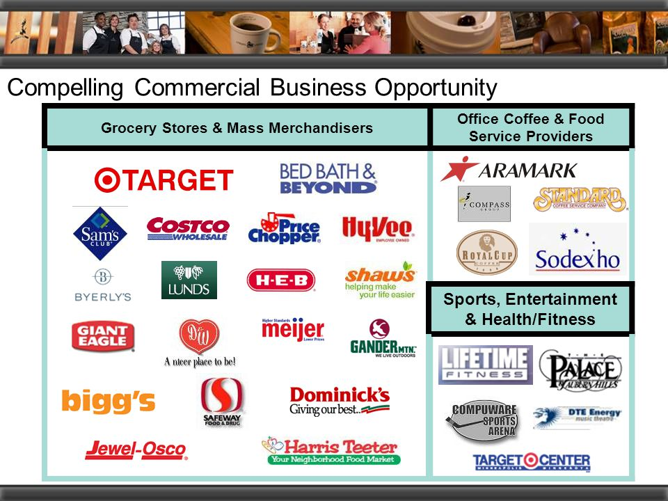 Compelling Commercial Business Opportunity Grocery Stores & Mass Merchandisers Office Coffee & Food Service Providers Sports, Entertainment & Health/Fitness