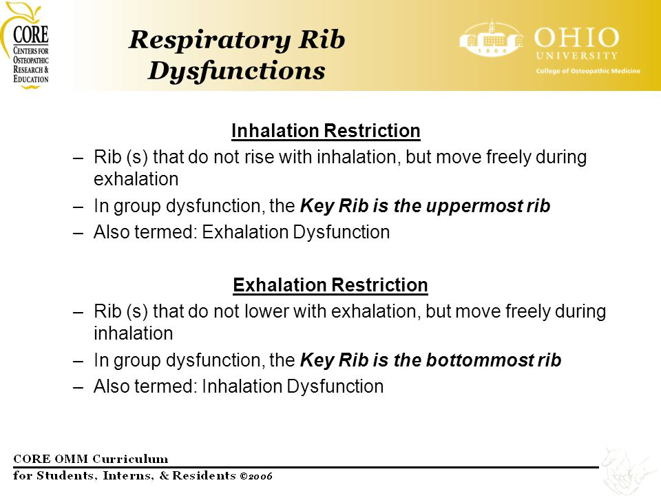 Respiratory Rib Dysfunctions Inhalation Restriction –Rib (s) that do not rise with inhalation, but move freely during exhalation –In group dysfunction
