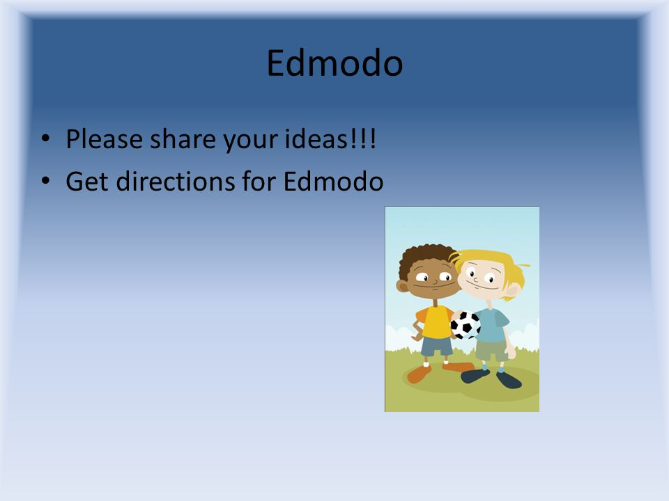 Edmodo Please share your ideas!!! Get directions for Edmodo
