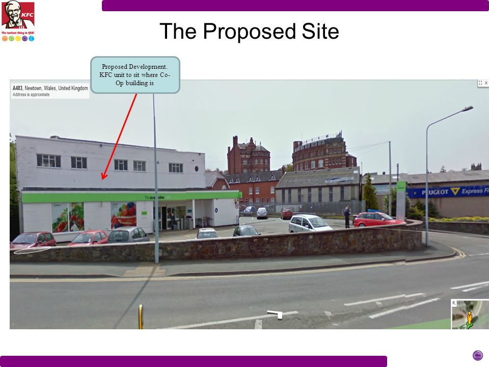 The Proposed Site Proposed Development. KFC unit to sit where Co- Op building is