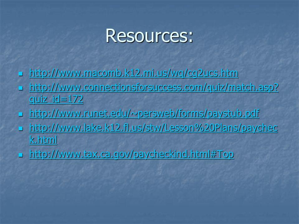 Resources: http://www.macomb.k12.mi.us/wq/cg2ucs.htm http://www.macomb.k12.mi.us/wq/cg2ucs.htm http://www.macomb.k12.mi.us/wq/cg2ucs.htm http://www.co