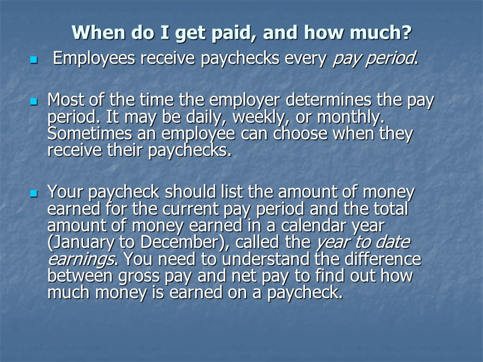 More Vocabulary Gross Income: Your gross income is your total pay before anything is taken out.