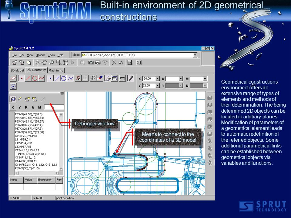 Built-in environment of 2D geometrical constructions Geometrical constructions environment offers an extensive range of types of elements and methods of their determination.