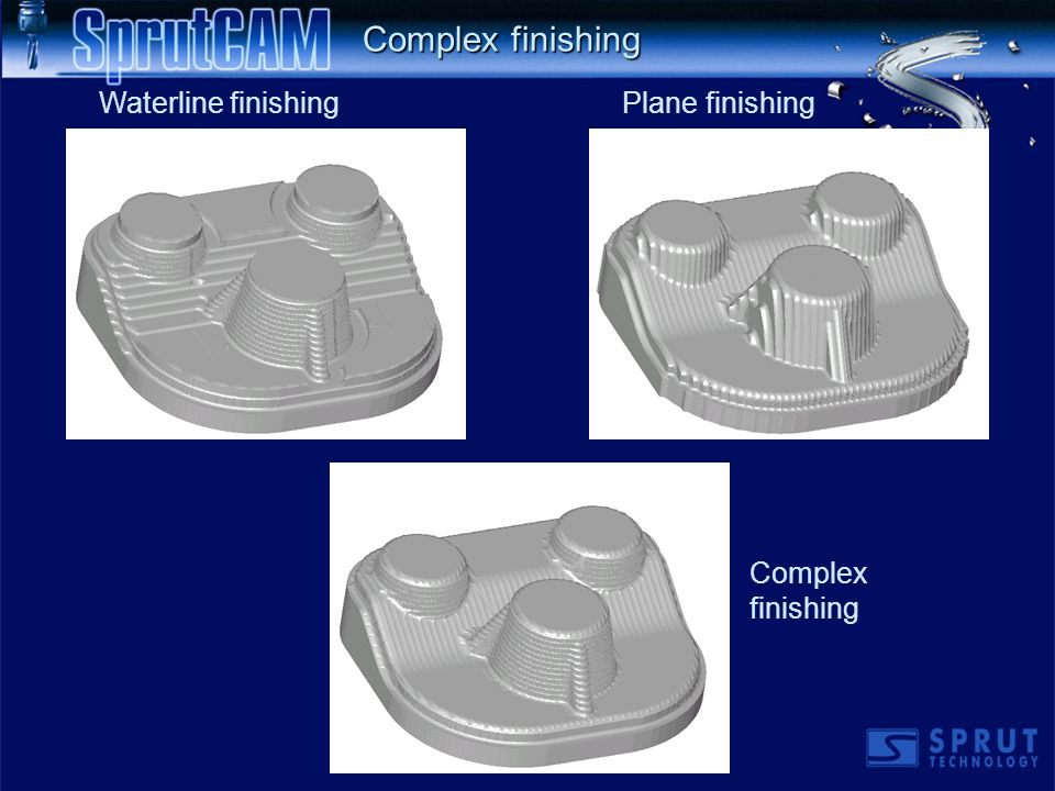 Plane finishing Complex finishing Waterline finishing Complex finishing