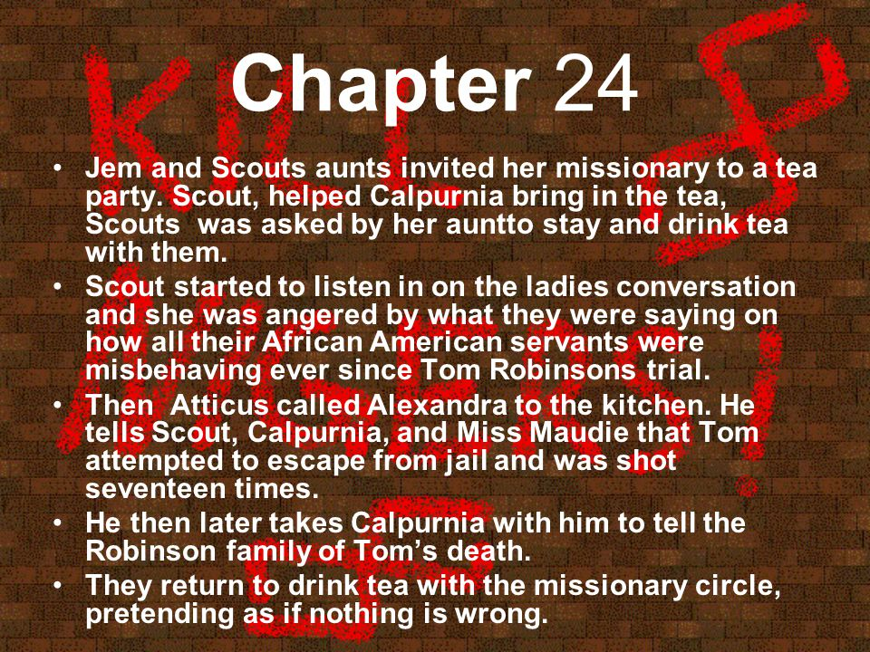 Chapter 24 Jem and Scouts aunts invited her missionary to a tea party.