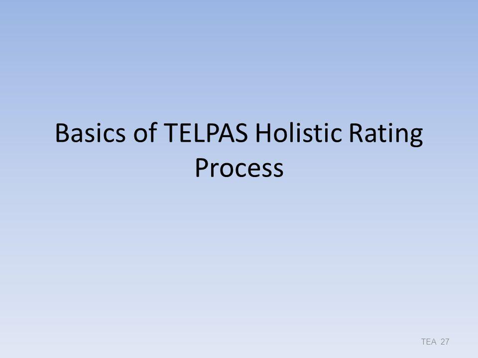 Basics of TELPAS Holistic Rating Process TEA 27