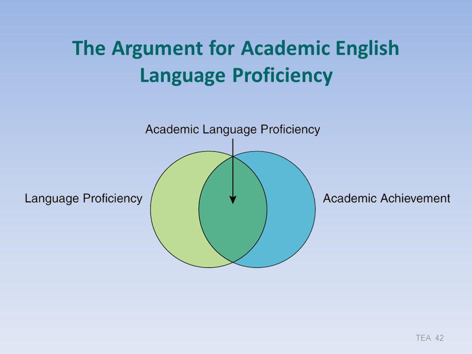 The Argument for Academic English Language Proficiency TEA 42