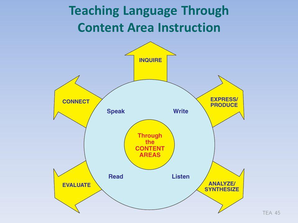 Teaching Language Through Content Area Instruction TEA 45