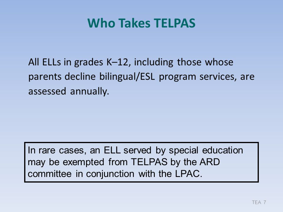 Measuring the ELPS TELPAS assesses the abilities outlined in the ELPS student expectations (SEs) and reports performance in alignment with the ELPS proficiency level descriptors (PLDs).
