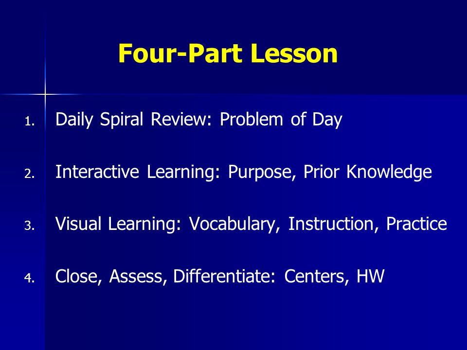 Four-Part Lesson 1. 1. Daily Spiral Review: Problem of Day 2. 2. Interactive Learning: Purpose, Prior Knowledge 3. 3. Visual Learning: Vocabulary, Ins