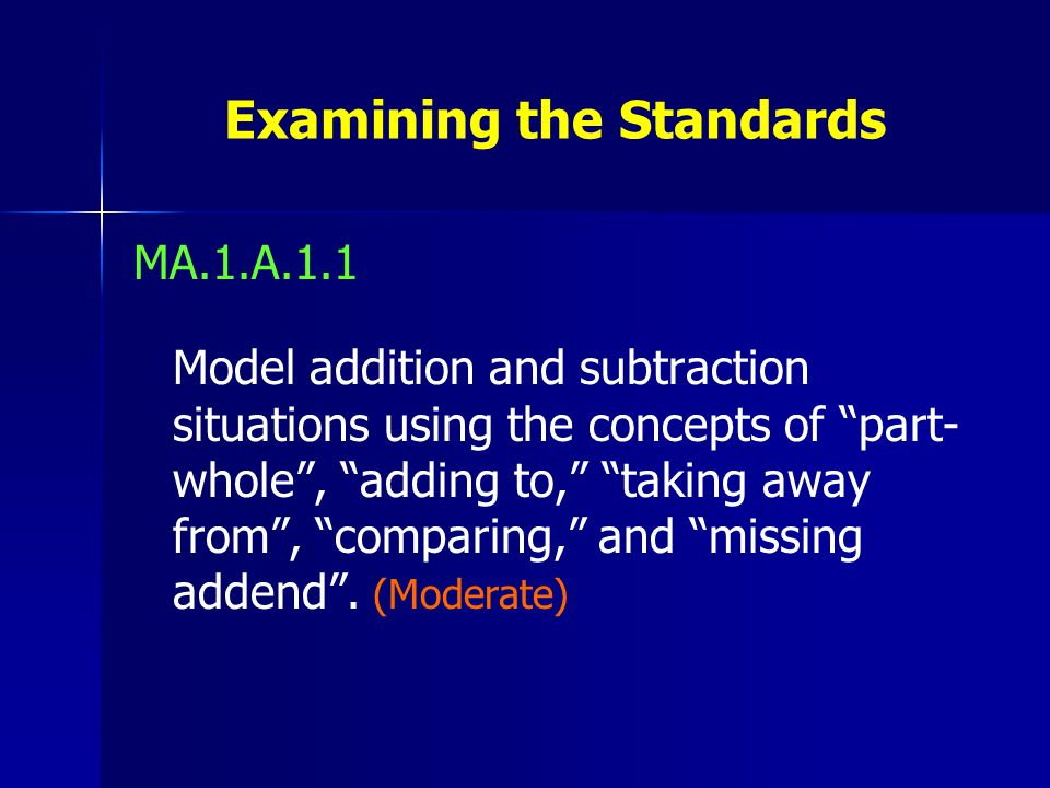 Examining the Standards MA.1.A.1.1 Model addition and subtraction situations using the concepts of part- whole , adding to, taking away from , comparing, and missing addend .