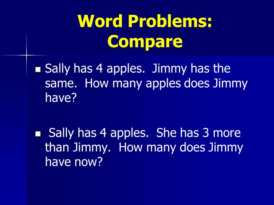 Word Problems: Compare Sally has 4 apples. Jimmy has the same.