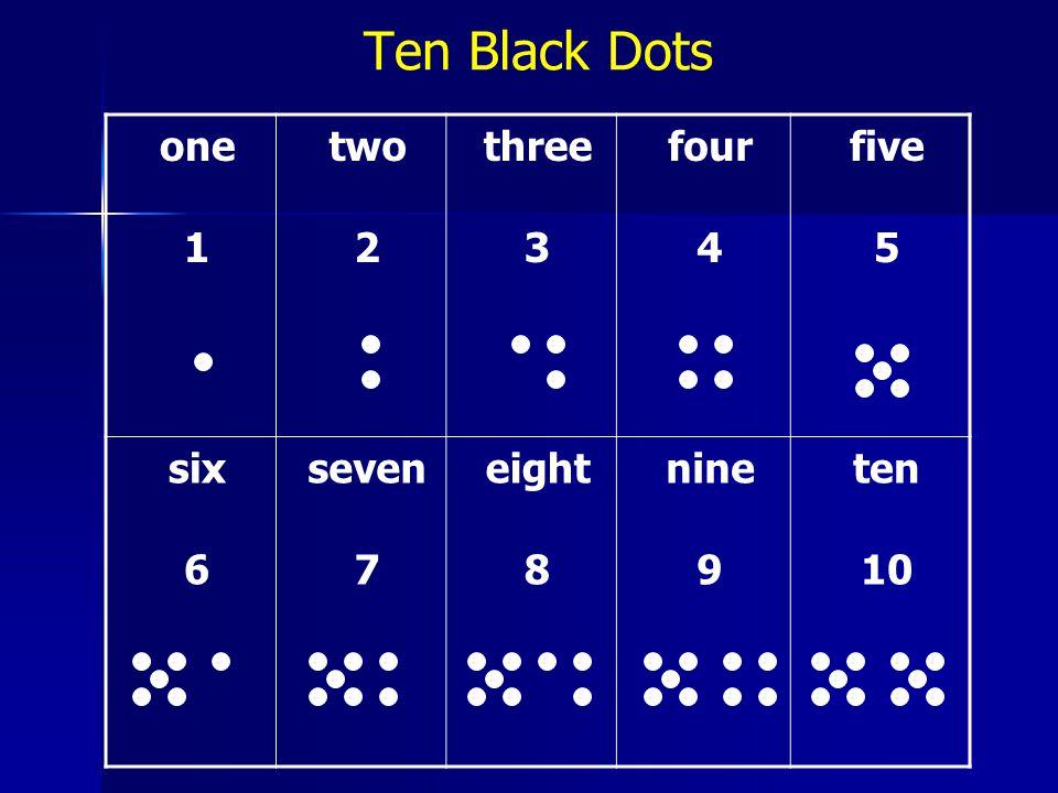 one 1 two 2 three 3 four 4 five 5 six 6 seven 7 eight 8 nine 9 ten 10 Ten Black Dots