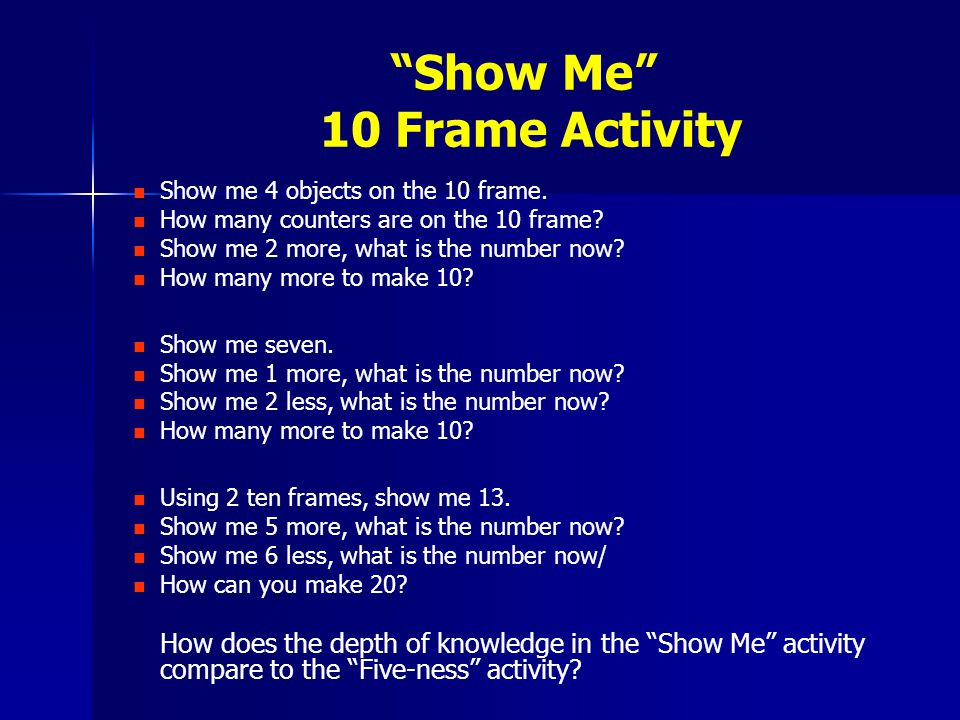 Show Me 10 Frame Activity Show me 4 objects on the 10 frame.