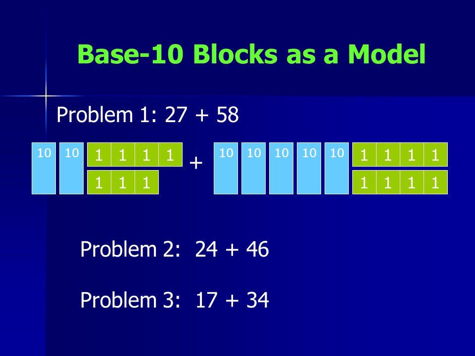Base-10 Blocks as a Model 10 1 11 111 111 11 1 1 1 1 + Problem 1: 27 + 58 Problem 2: 24 + 46 Problem 3: 17 + 34