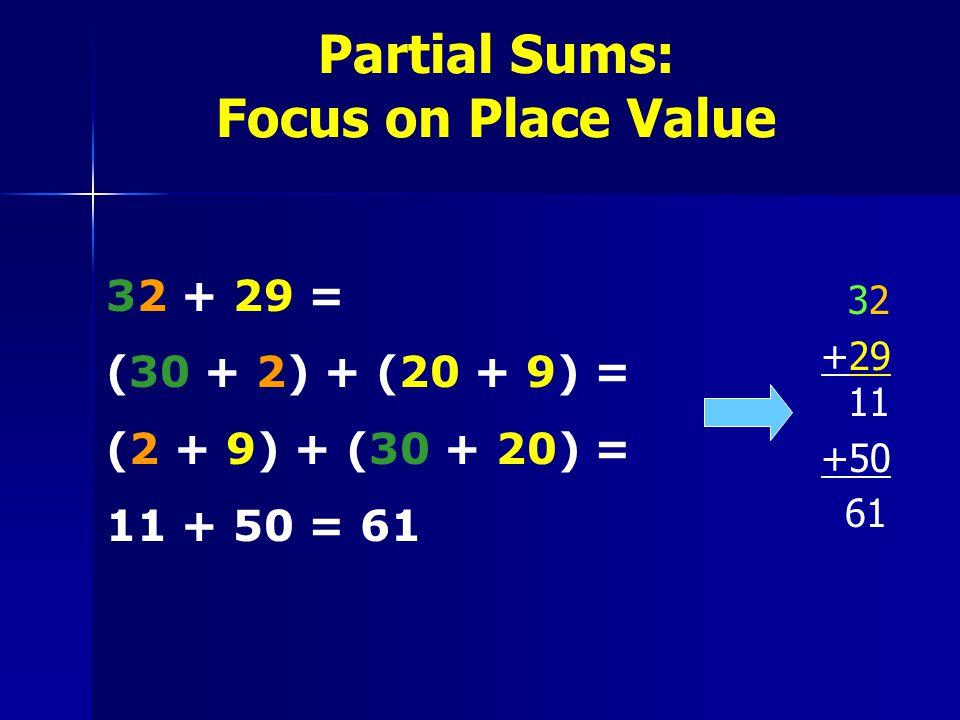 Partial Sums: Focus on Place Value 32 32 +29 11 +50 61 32 + 29 = (30 + 2) + (20 + 9) = (2 + 9) + (30 + 20) = 11 + 50 = 61