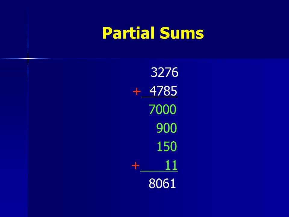 Partial Sums 3276 + 4785 7000 900 150 + 11 8061