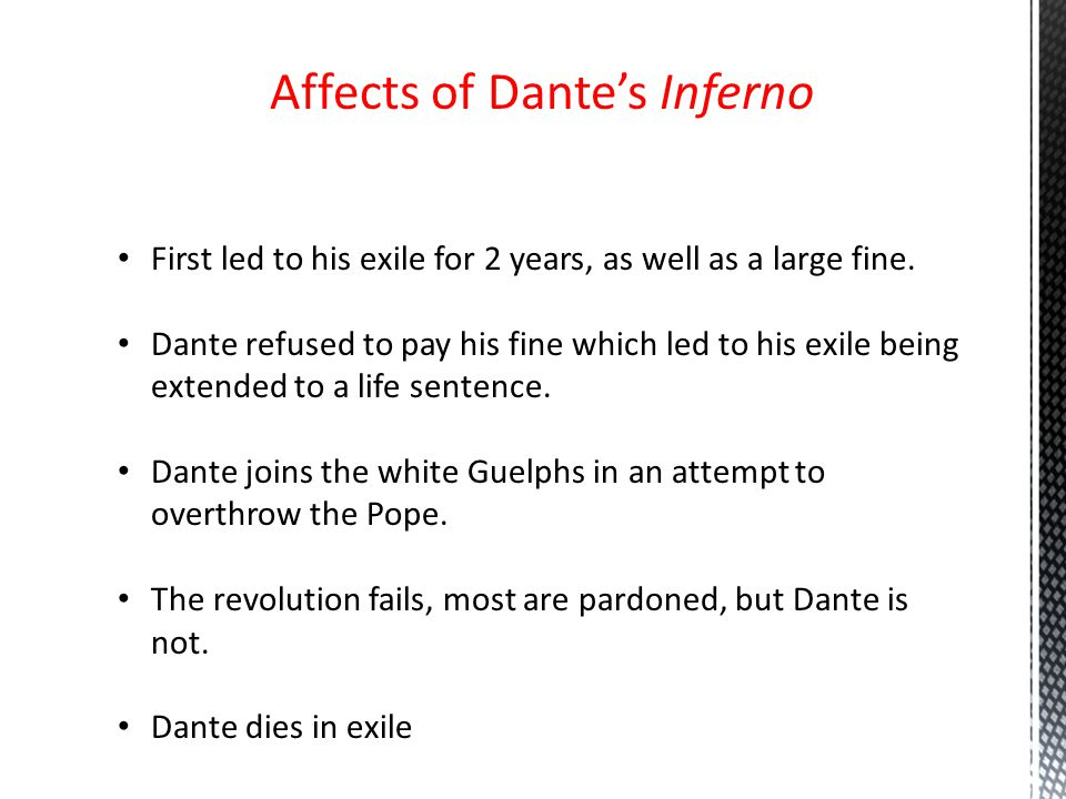 Affects of Dante's Inferno First led to his exile for 2 years, as well as a large fine.