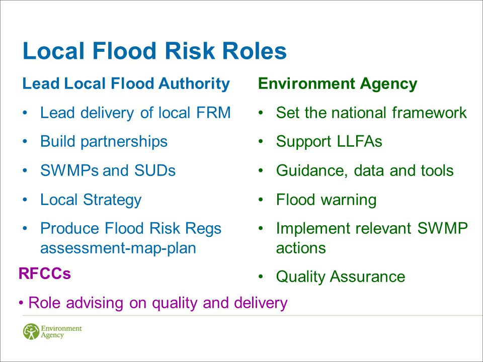 Local Flood Risk Roles Lead Local Flood Authority Lead delivery of local FRM Build partnerships SWMPs and SUDs Local Strategy Produce Flood Risk Regs assessment-map-plan Environment Agency Set the national framework Support LLFAs Guidance, data and tools Flood warning Implement relevant SWMP actions Quality Assurance RFCCs Role advising on quality and delivery