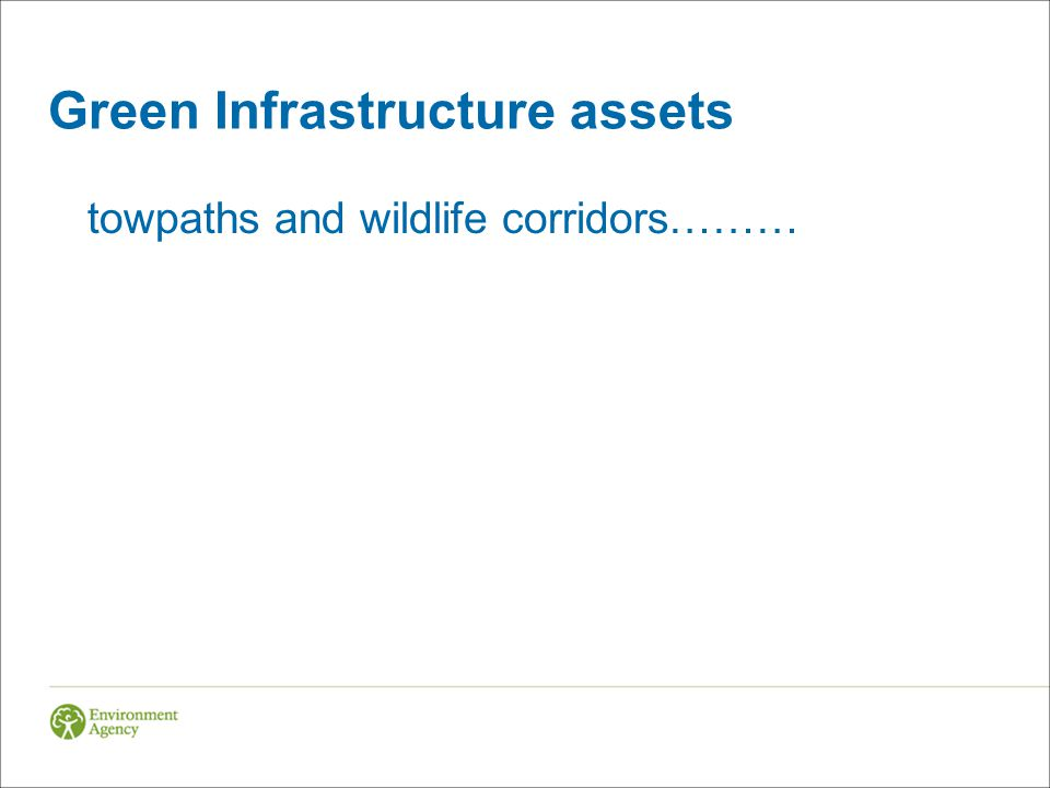 Green Infrastructure assets towpaths and wildlife corridors………