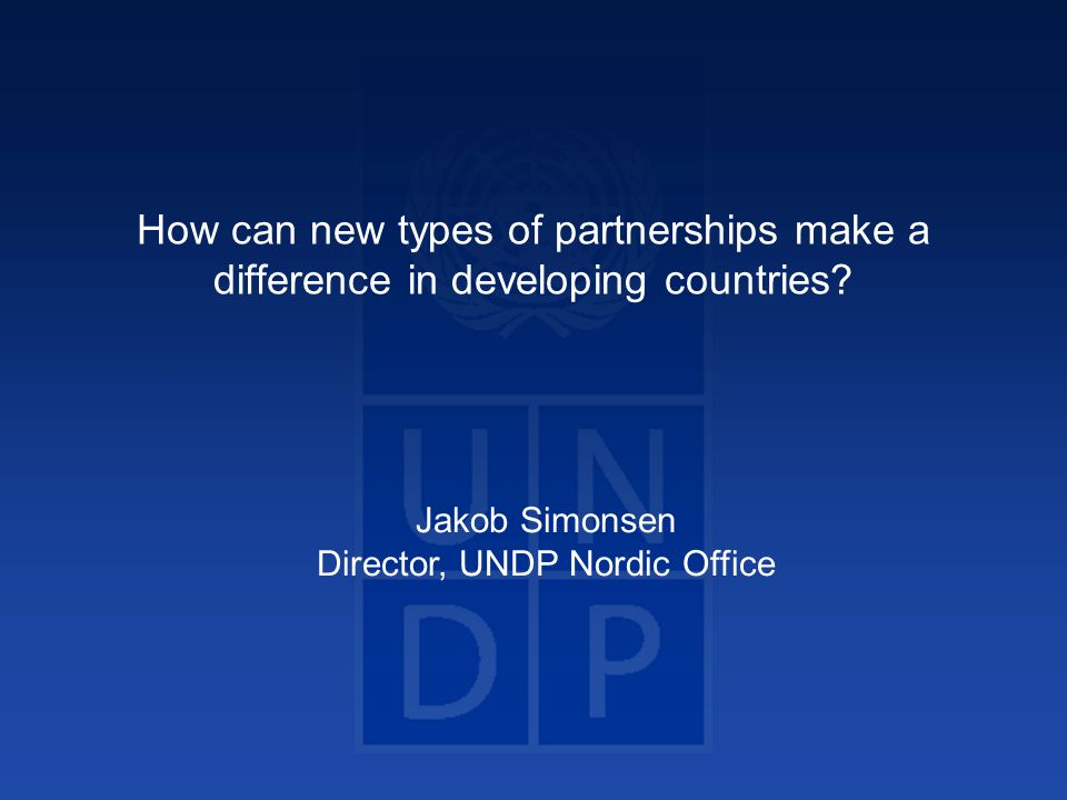 How can new types of partnerships make a difference in developing countries.
