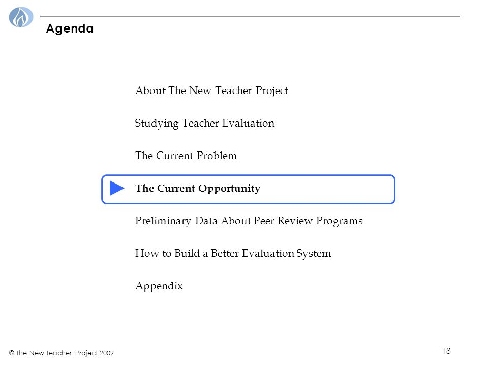 18 © The New Teacher Project 2009 Agenda About The New Teacher Project Studying Teacher Evaluation The Current Problem The Current Opportunity Preliminary Data About Peer Review Programs How to Build a Better Evaluation System Appendix