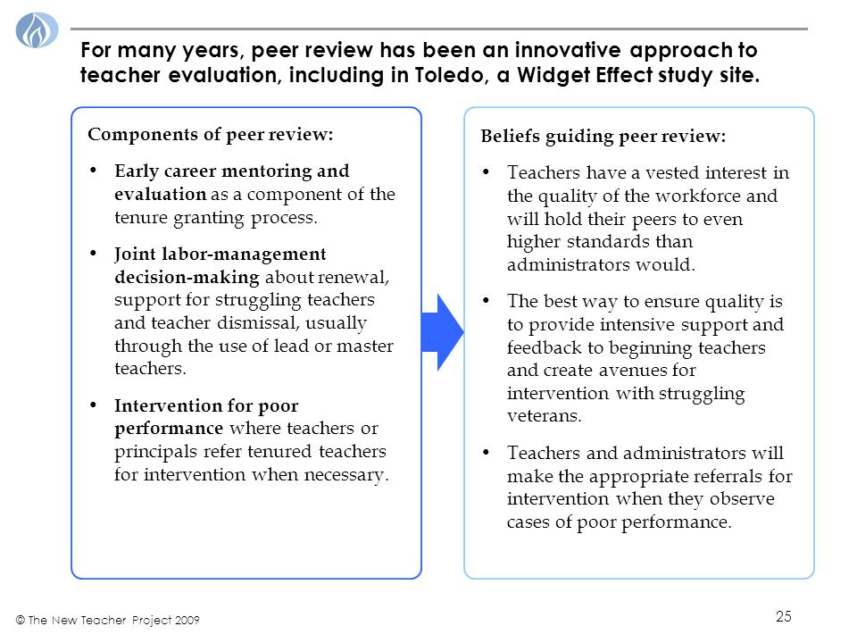 25 © The New Teacher Project 2009 For many years, peer review has been an innovative approach to teacher evaluation, including in Toledo, a Widget Effect study site.