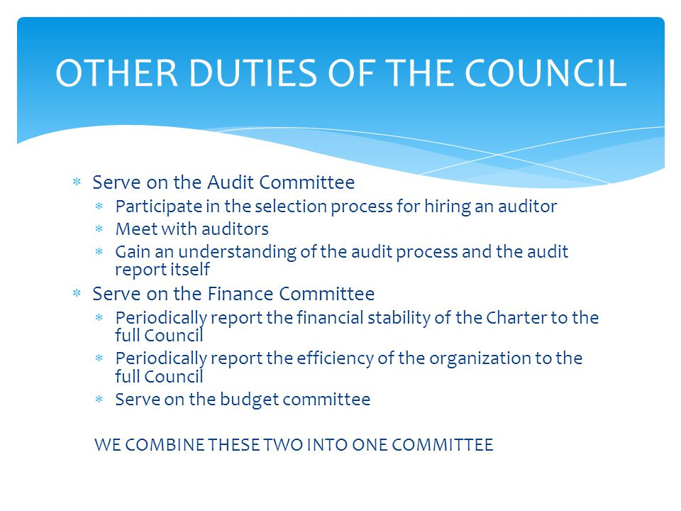  Serve on the Audit Committee  Participate in the selection process for hiring an auditor  Meet with auditors  Gain an understanding of the audit process and the audit report itself  Serve on the Finance Committee  Periodically report the financial stability of the Charter to the full Council  Periodically report the efficiency of the organization to the full Council  Serve on the budget committee WE COMBINE THESE TWO INTO ONE COMMITTEE OTHER DUTIES OF THE COUNCIL