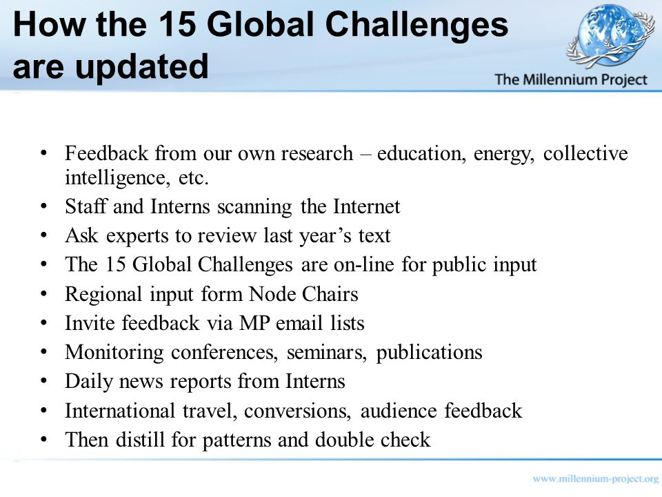 How the 15 Global Challenges are updated Feedback from our own research – education, energy, collective intelligence, etc.
