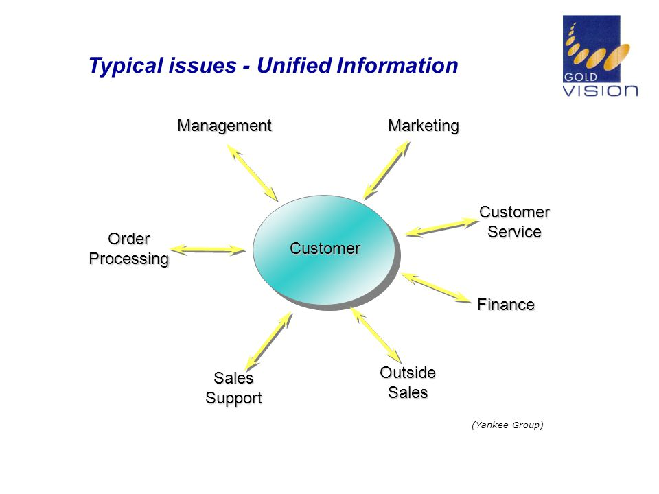 Typical issues - Unified Information OrderProcessing ManagementMarketing CustomerService Finance OutsideSales SalesSupport Customer (Yankee Group)