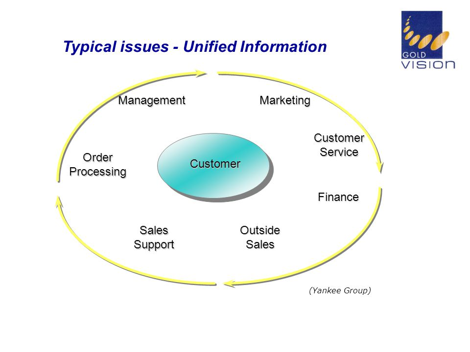 Typical issues - Unified Information OrderProcessing ManagementMarketing CustomerService Finance OutsideSales SalesSupport (Yankee Group) Customer