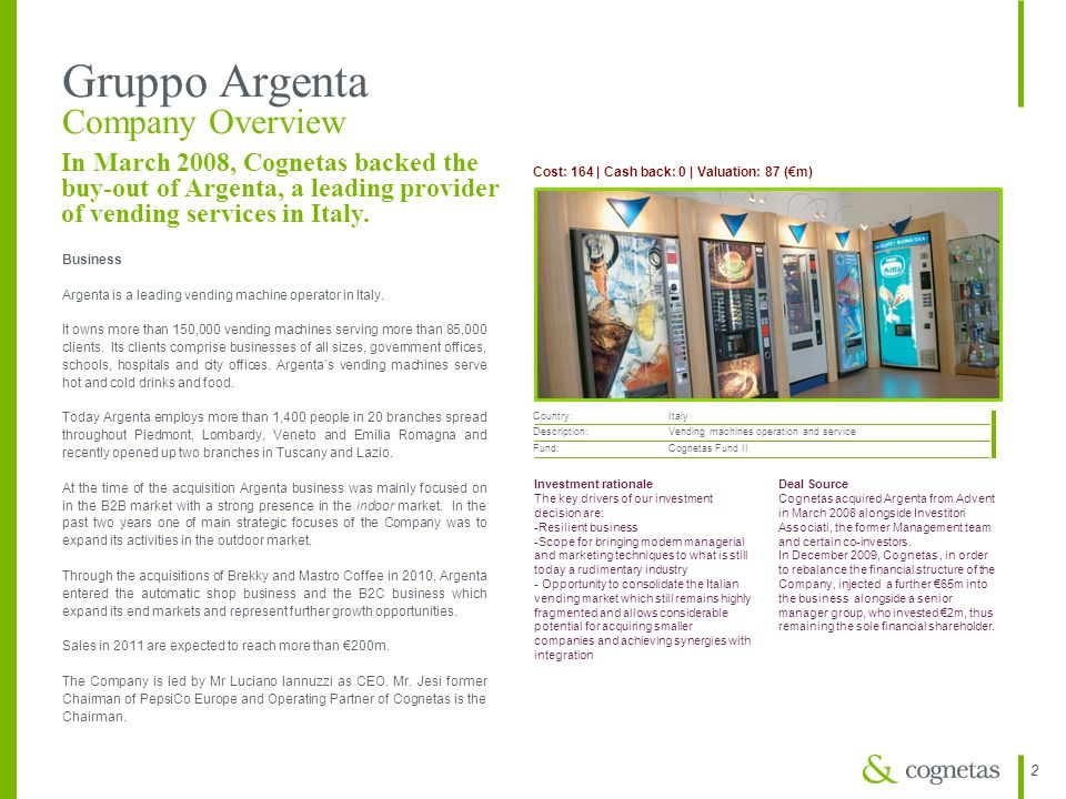 22 Gruppo Argenta Company Overview Cost: 164 | Cash back: 0 | Valuation: 87 (€m) Country: Italy Description: Vending machines operation and service Fu