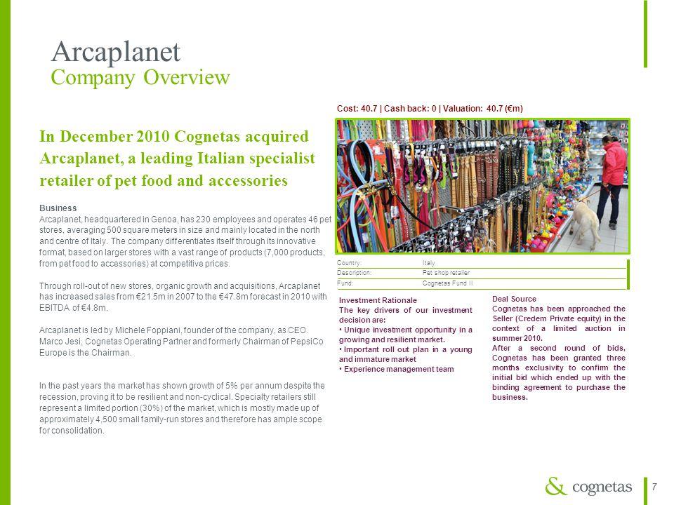 77 Arcaplanet Company Overview Cost: 40.7 | Cash back: 0 | Valuation: 40.7 (€m) Country: Italy Description: Pet shop retailer Fund: Cognetas Fund II I