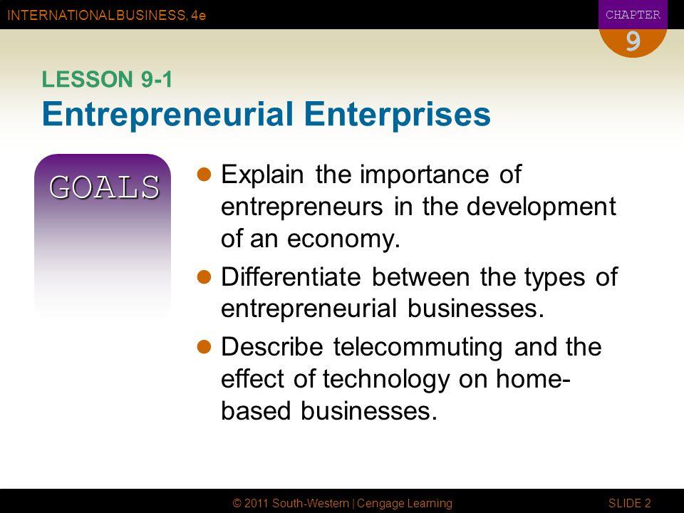 INTERNATIONAL BUSINESS, 4e CHAPTER © 2011 South-Western | Cengage Learning SLIDE 2 9 LESSON 9-1 Entrepreneurial Enterprises GOALS Explain the importan