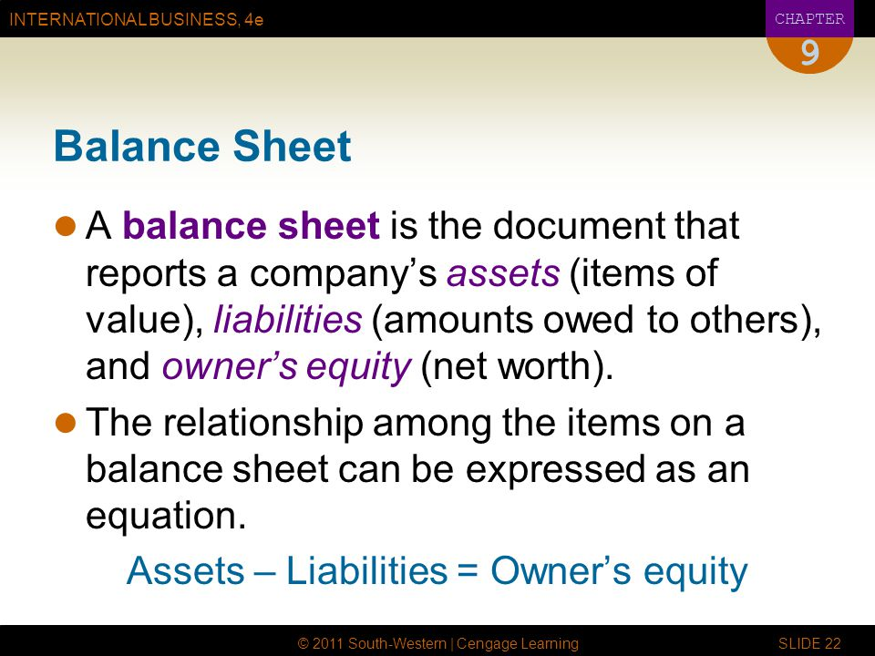 INTERNATIONAL BUSINESS, 4e CHAPTER © 2011 South-Western | Cengage Learning SLIDE 22 9 Balance Sheet A balance sheet is the document that reports a com