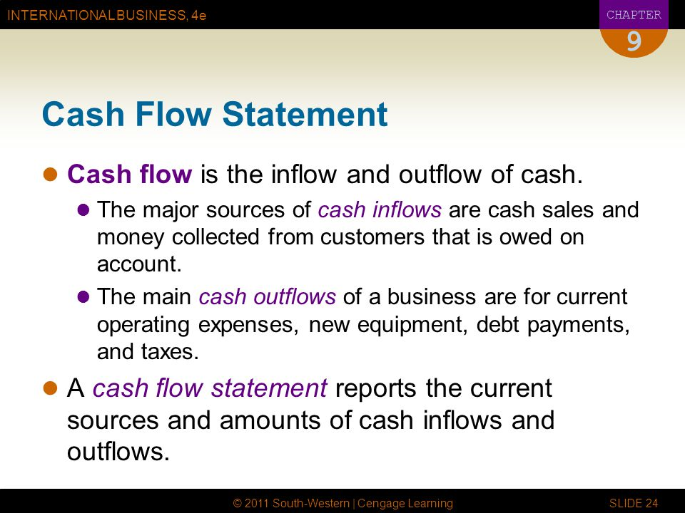 INTERNATIONAL BUSINESS, 4e CHAPTER © 2011 South-Western | Cengage Learning SLIDE 24 9 Cash Flow Statement Cash flow is the inflow and outflow of cash.