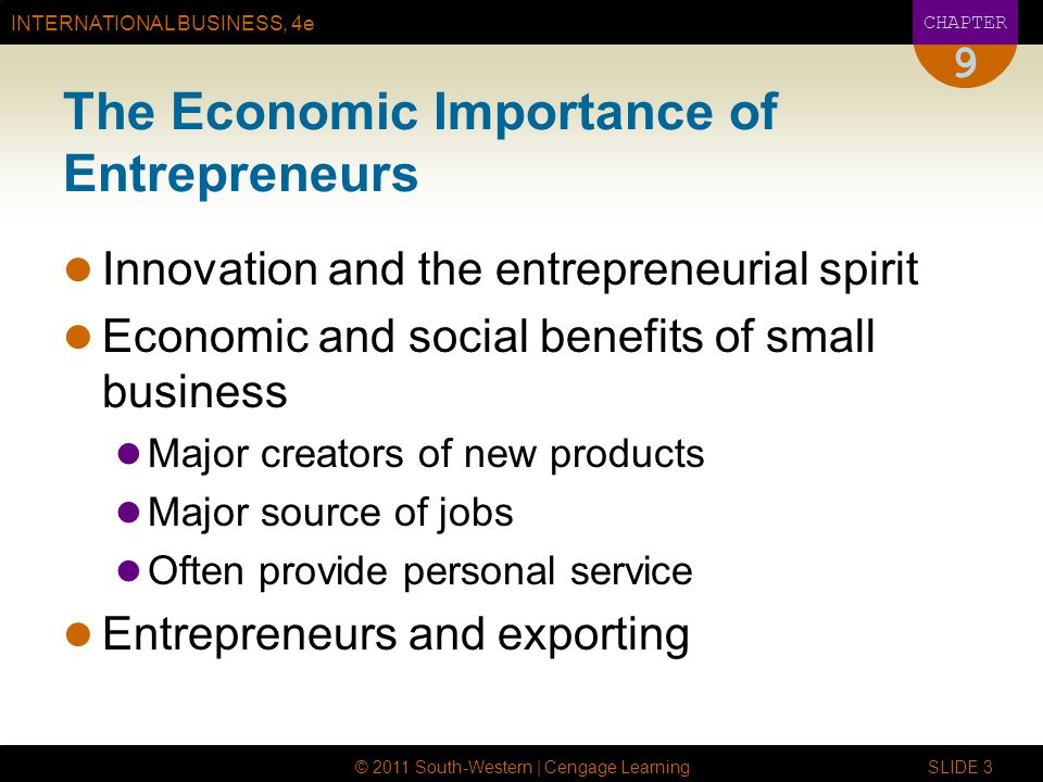 INTERNATIONAL BUSINESS, 4e CHAPTER © 2011 South-Western | Cengage Learning SLIDE 4 9 Types of Entrepreneurial Businesses Agricultural, mining, and extracting companies Manufacturing companies Wholesalers Retailers Service companies