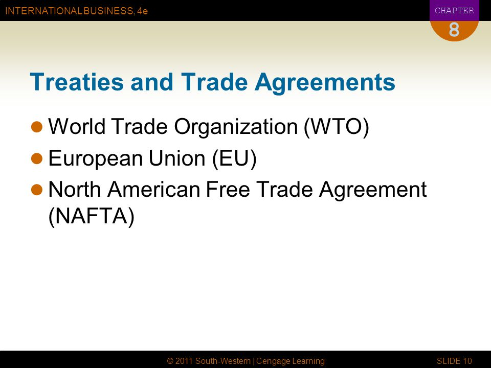 INTERNATIONAL BUSINESS, 4e CHAPTER © 2011 South-Western | Cengage Learning SLIDE 10 8 Treaties and Trade Agreements World Trade Organization (WTO) European Union (EU) North American Free Trade Agreement (NAFTA)