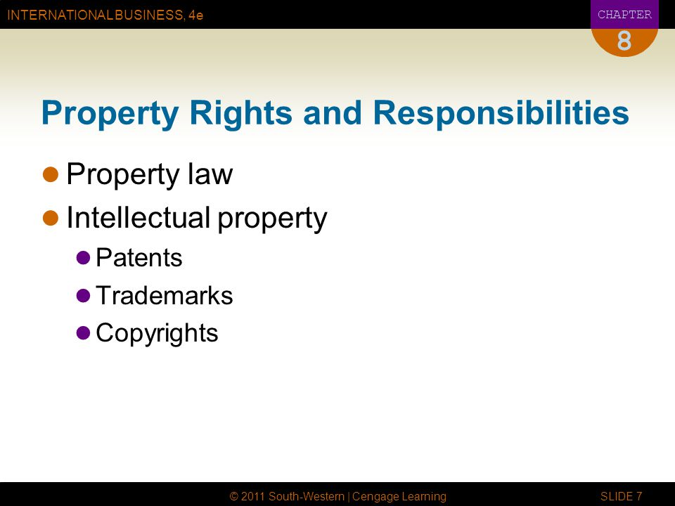 INTERNATIONAL BUSINESS, 4e CHAPTER © 2011 South-Western | Cengage Learning SLIDE 7 8 Property Rights and Responsibilities Property law Intellectual property Patents Trademarks Copyrights