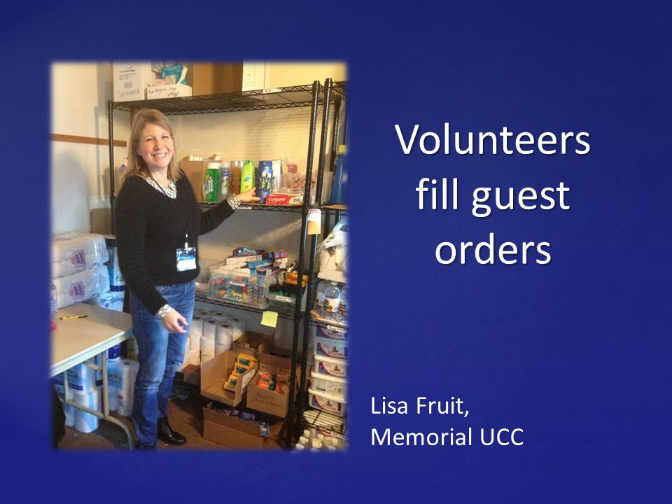 Margie Rem, volunteer, training to be a host on pantry day. Hosts register guests