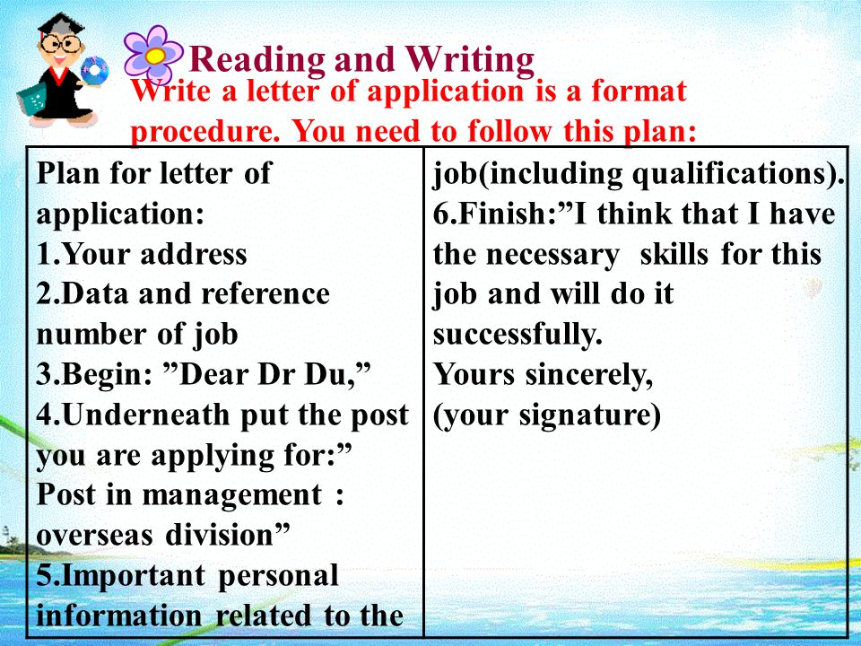 Reading and Writing Write a letter of application is a format procedure.