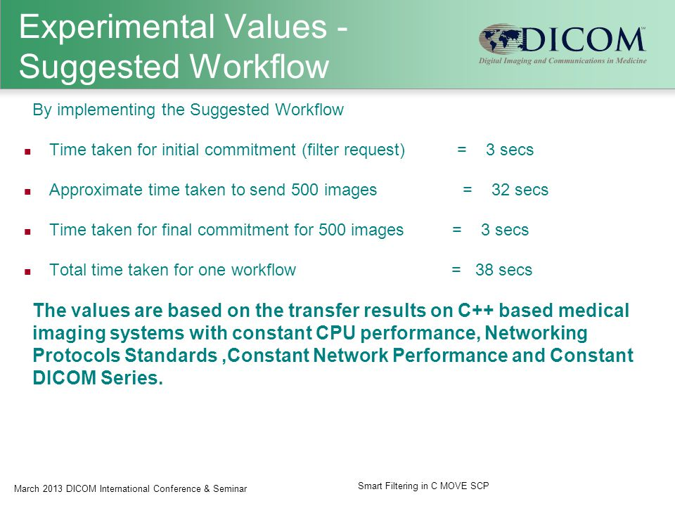 Experimental Values - Suggested Workflow By implementing the Suggested Workflow Time taken for initial commitment (filter request) = 3 secs Approximate time taken to send 500 images = 32 secs Time taken for final commitment for 500 images = 3 secs Total time taken for one workflow = 38 secs The values are based on the transfer results on C++ based medical imaging systems with constant CPU performance, Networking Protocols Standards,Constant Network Performance and Constant DICOM Series.