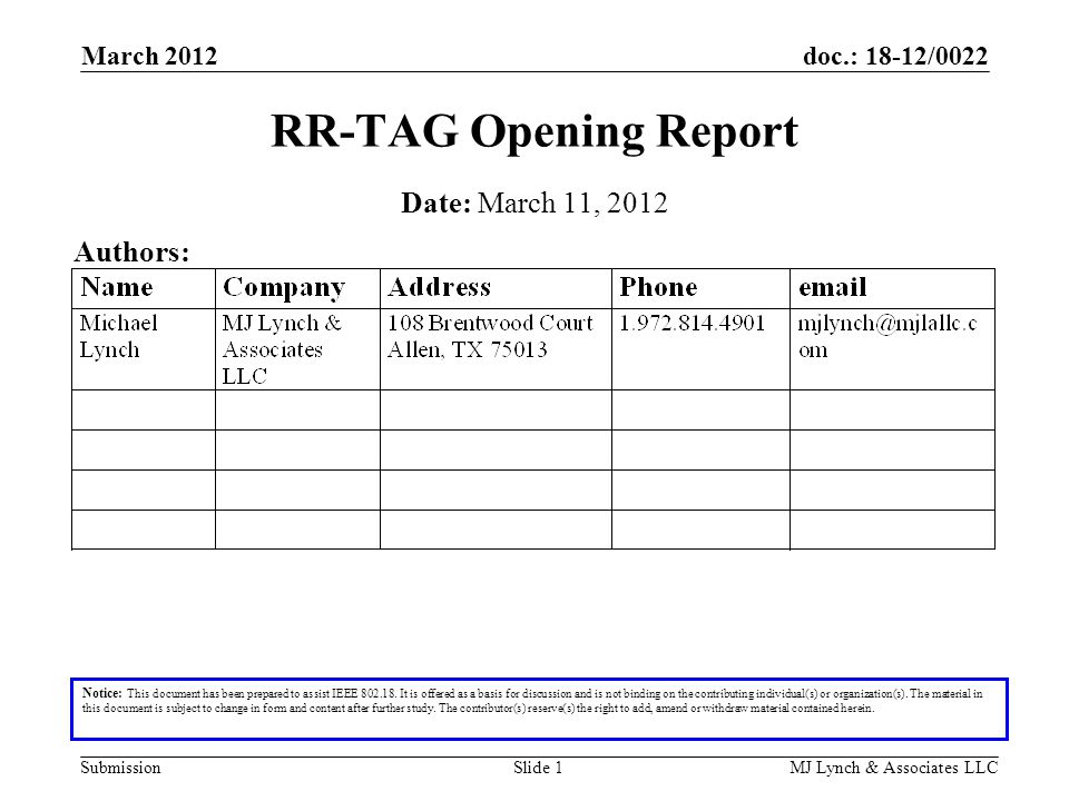 doc.: 18-12/0022 Submission March 2012 MJ Lynch & Associates LLCSlide 1 RR-TAG Opening Report Notice: This document has been prepared to assist IEEE 802.18.