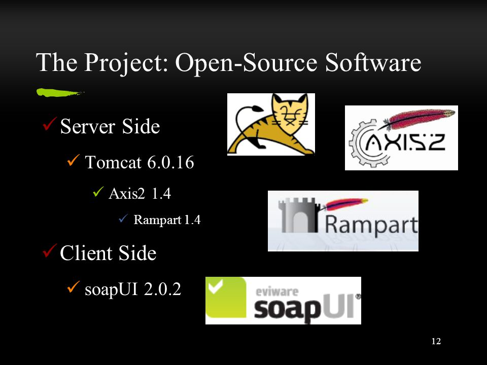 12 The Project: Open-Source Software Server Side Tomcat 6.0.16 Axis2 1.4 Rampart 1.4 Client Side soapUI 2.0.2