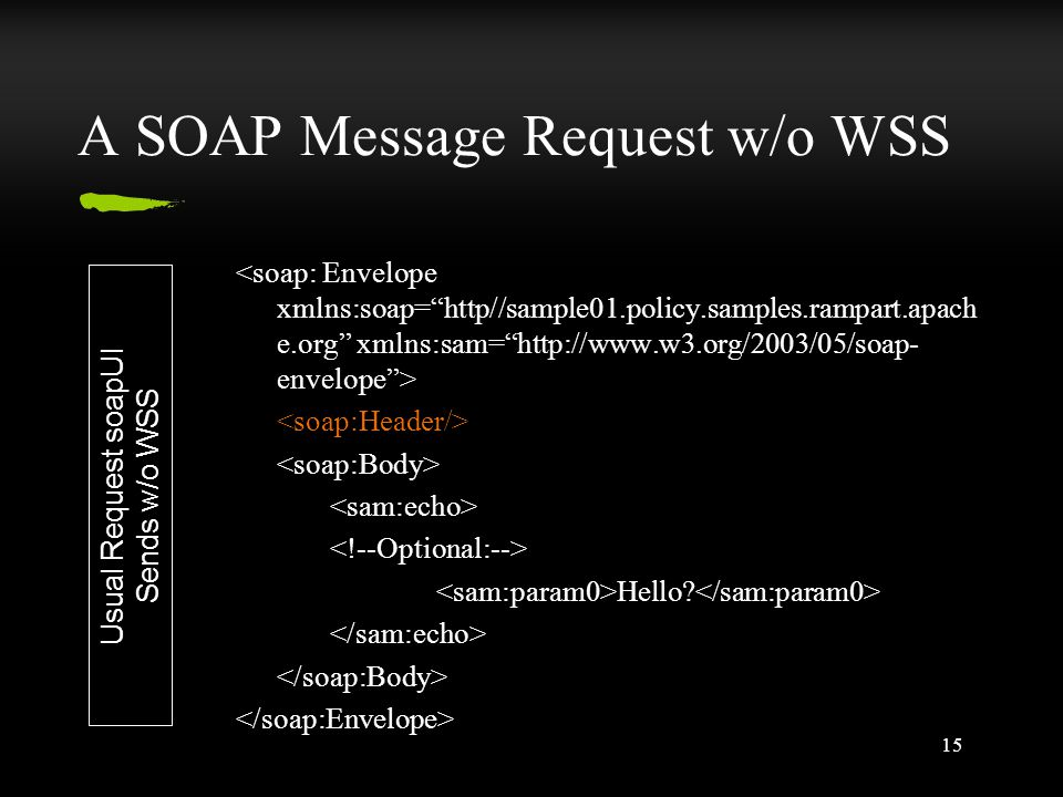 15 A SOAP Message Request w/o WSS Hello Usual Request soapUI Sends w/o WSS